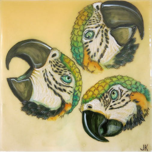 3 Parrots 8x8in Acrylic & Beeswax $600