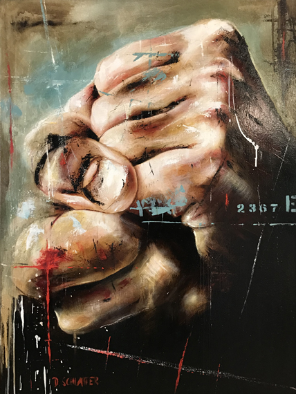 Hands #4 36x48in  Mixed Media, $4650