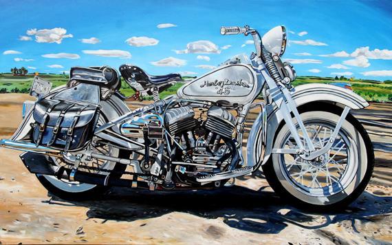 Harley Davidson 45 48x30in Acrylic $3240