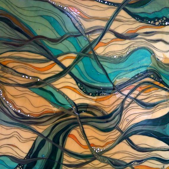 Horseshoe Bay II 24x24in Acrylic and Beeswax $2000