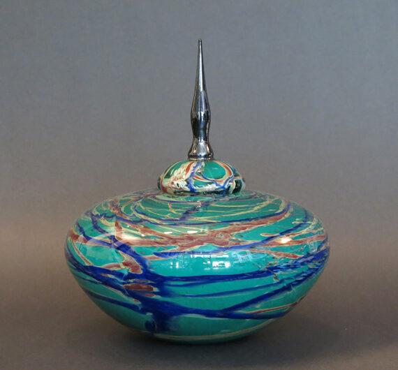 Medium Marbleized Vase Blown Glass $650