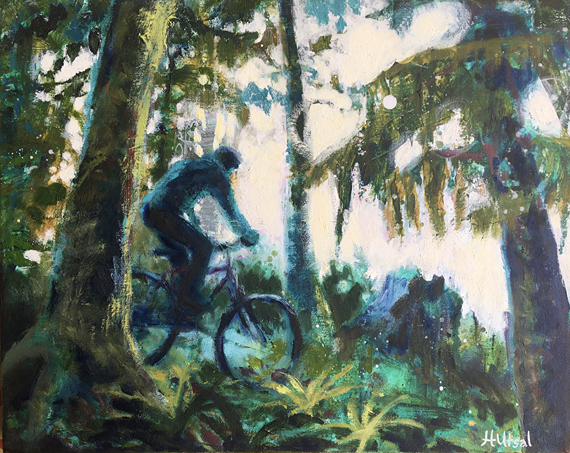 Old Bike, New Trail 20x16in Acrylic and Oil $700 framed