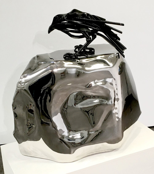 (Untitled) Raven#2 32x30x20in Powder coated steel on stainless steel (Price upon request)