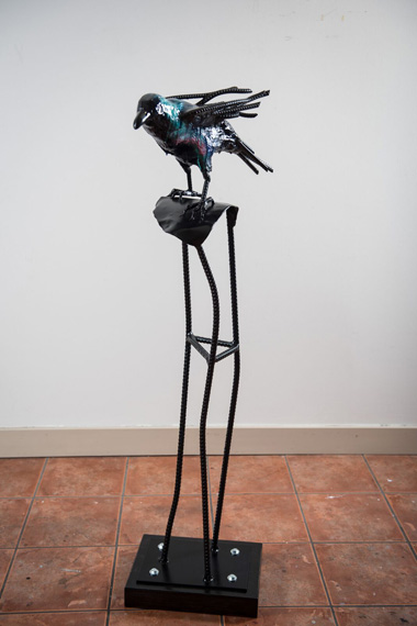 Raven 54x20x14in Steel, Rebar, Hydrocal, Acrylic and Resin $6000
