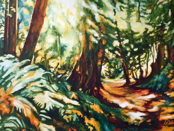 Sunlight on Deer Fern Trail 60x48in Oil $3500
