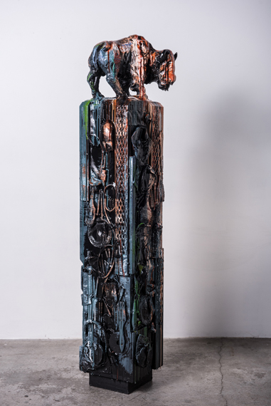 The Hollow Sound of Distant Memories 57x10x10in Hydrocal, Rebar Acrylics and Resin, $7700