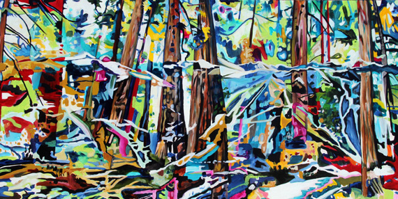 Whistler Blackcomb Forest Overlap 46x23in Acrylic $2070