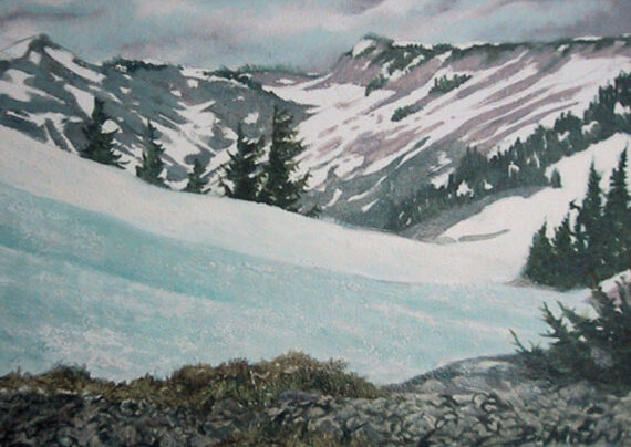 Cascade Range 7x5in Oil $275 framed