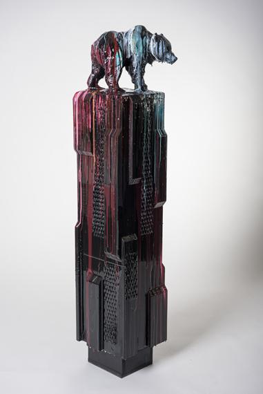 Bear #2, 52x10x10in Hydrocal, Rebar, Acrylics and resin, $6500
