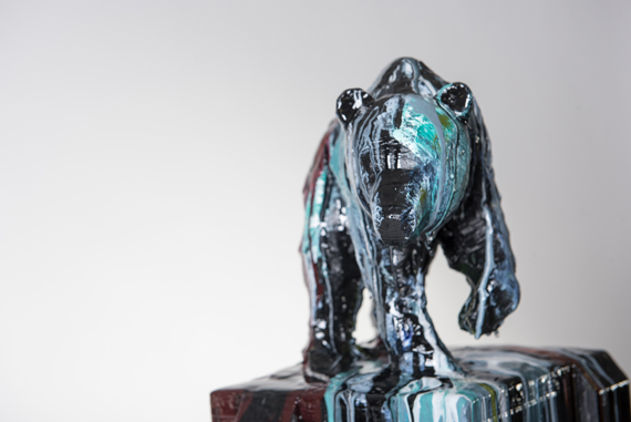 Bear #2, 52x10x10in Hydrocal, Rebar, Acrylics and resin, $7150