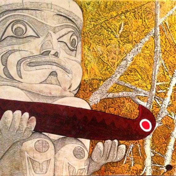 Red Canoe 30x30in Mixed Media $1250