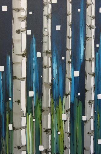 Winter Birch #3 24x36in Acrylic $1200