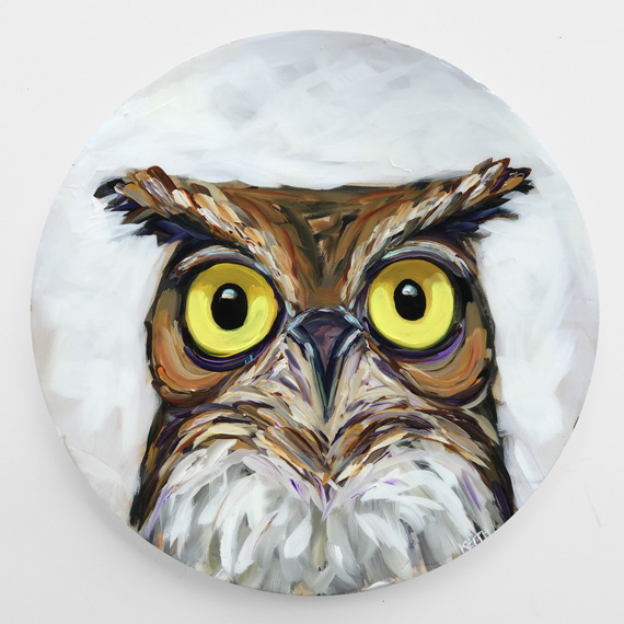 Perry 20in Round Acrylic on wood panel $700