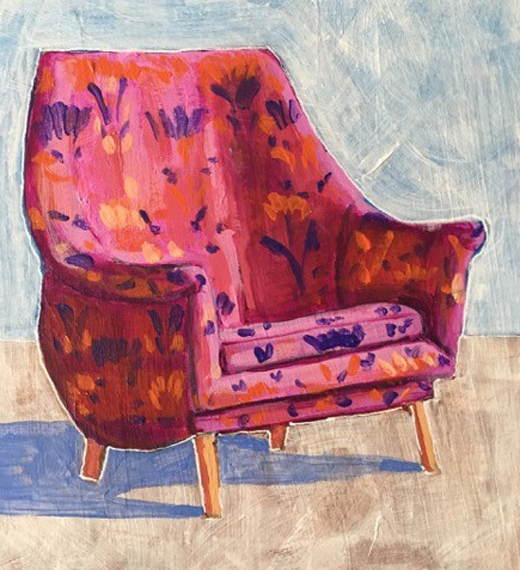 Magenta Chair 6x8in Acrylic $150
