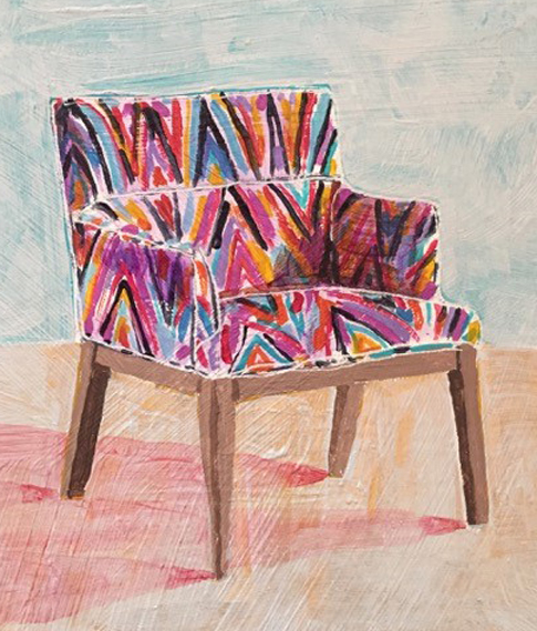 Stripey Chair 6x8in Acrylic $150