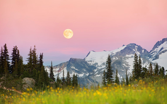 Moonrise Alpenglow 45x28in Photography aluminum, $1850