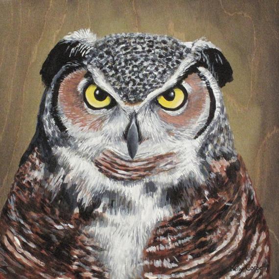 Owl #3 10x10in Acrylic on wood panel $270