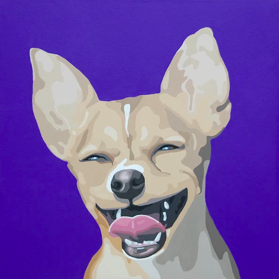 Chihuahuas Make Me Smile 24x24in Acrylic $1900
