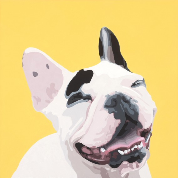 French Bulldogs Make Me Smile 24x24in Acrylic $1900