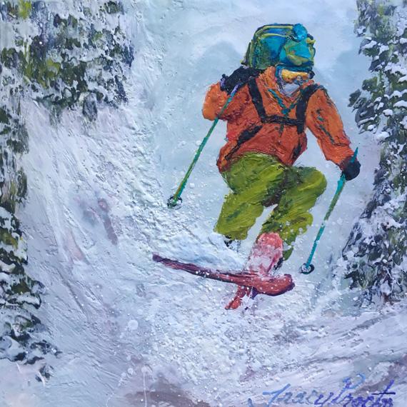 Snow Splashier 10x10in  Encaustic $295
