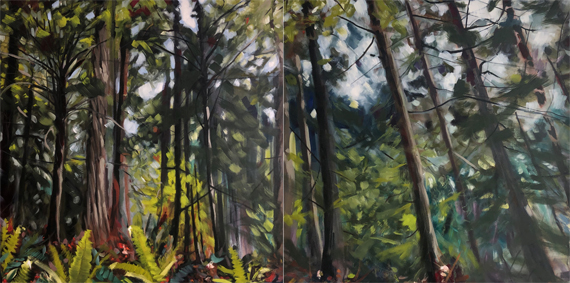 Forest Dyptych 72x36in Oil $2800