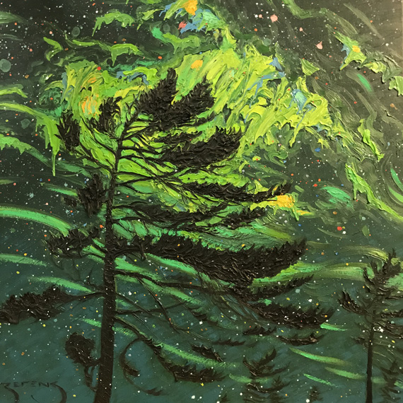 Northern Lights 24x24in Oil $1200