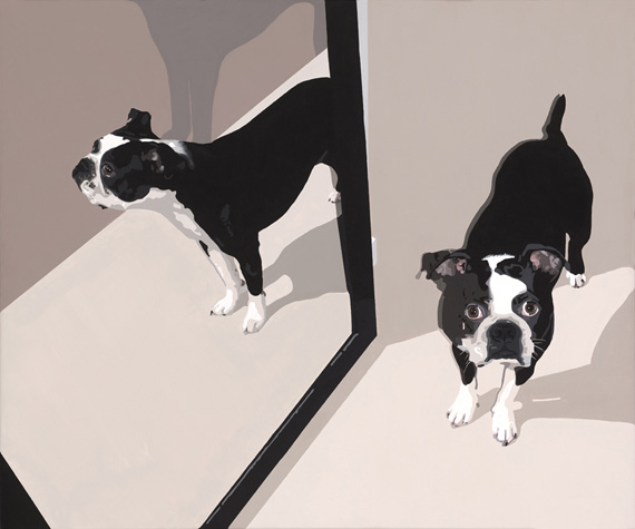 Reflection of a Boston Terrier 36x30in Acrylic $3000