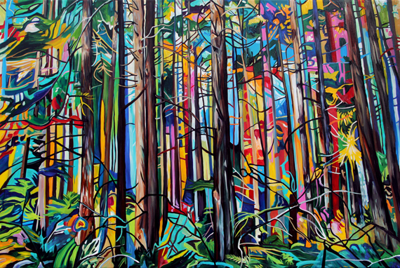 Forest Community 60x40in Acrylic, $4225