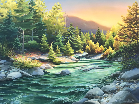 Fitzsimmons, Whistler Glow 48x36in Acrylic, $3285