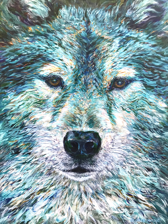 Wolf in Turquoise Light 30x40in Acrylic, $3500