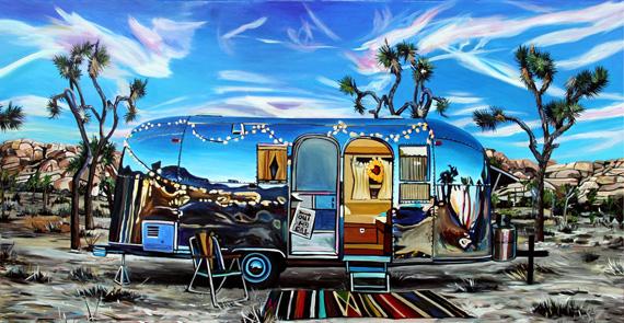 Joshua Tree Airstream 60x30in Acrylic, $3775