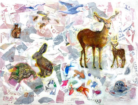 Plasticized Wildlife 48x36in Fused Plastic Bags Acrylic, $4500