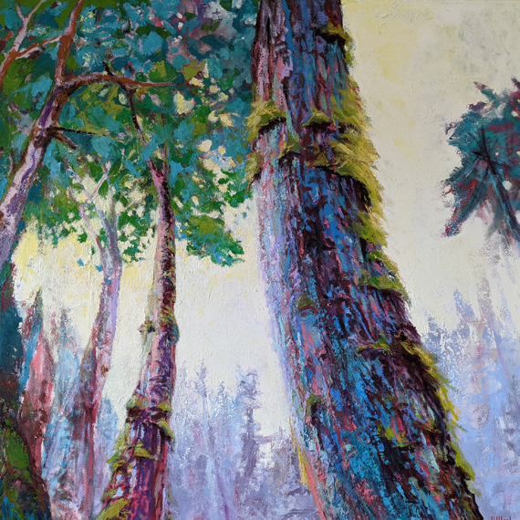 'Puntledge River Shade' 48x48in Acrylic Oil Wax, $4050