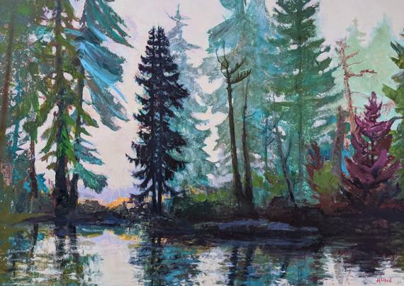 'Seal Bay Reflections' 48x36in, Acrylic Oil Wax, $3000