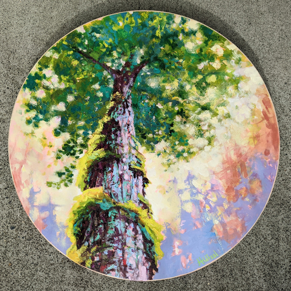 'Stretch Up to the Sky ' 20in Diameter Acrylic Oil Wax, $750