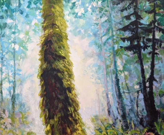 'Sunlit Path' 36x30in Acrylic Oil Wax, $1900