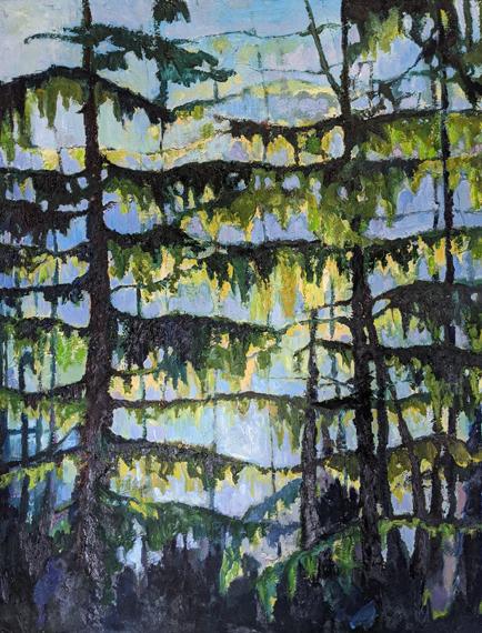 'Westcoast Trees' 24x30in Acrylic Oil Wax, $950